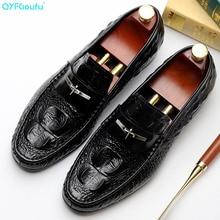 QYFCIOUFU Crocodile Pattern Men Oxford Shoes For Genuine Leather Handmade Luxury Dress Fashion Round Toe