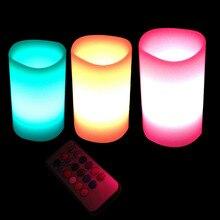 3 stücke Bunte Farben LED Flickering Flammenlose Paraffinwachs Kerzen Mit batterie fernbedienung Weihnachten Decor