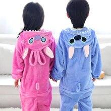 ФОТО flannel animal suit cosplay costumes stitch sleepwear children pijamas cartoon animal onesies pajamas infantil menino