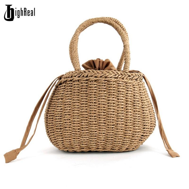 HIGHREAL соломы ведро корзина сумка Для женщин ins жаркое лето Drawstring Tote небольшой сладкий корейский вязаный пляжная сумка, сумка для покупок ...