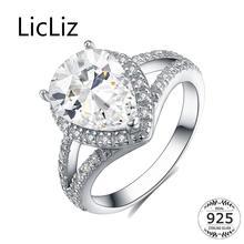 LicLiz 925 Sterling Silver Hyperbole Water Drop Zircon Eternity Rings Women Paved CZ Crystal Wedding Bands Jewelry Bijoux LR0511