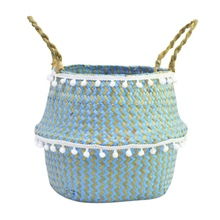 2019 Blue plaid storage basket white hair ball straw middle diameter 32* height 28cm