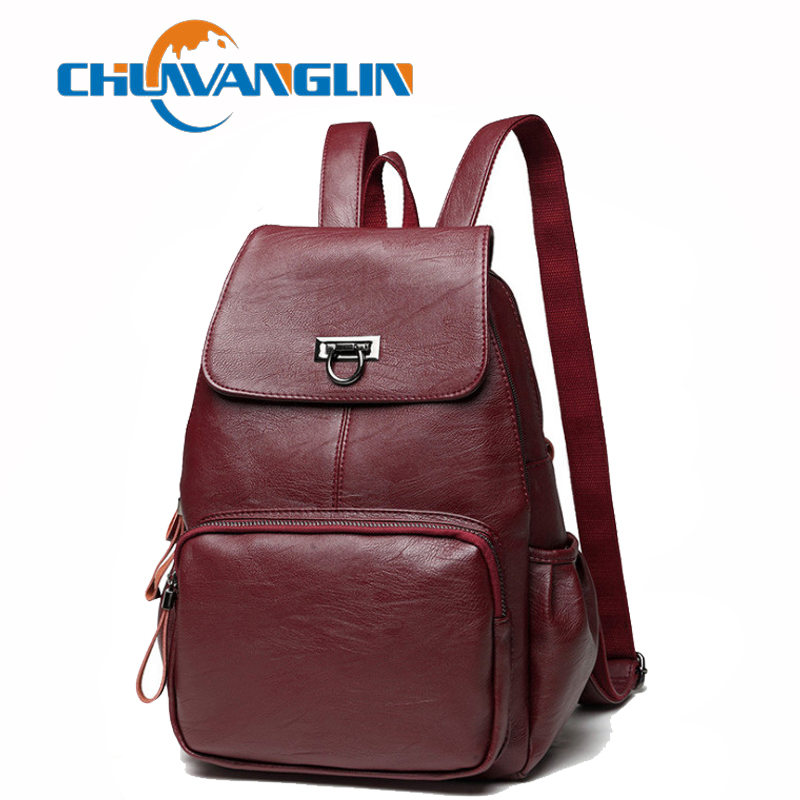 Chuwanglin Genuine Leather backpack women fashion casual Daily feminine backpack Simple school bags travel bag S020603 2018 new rivet pu leather backpack women fashion school bag casual patent leather travel bag women backpack monster school bag