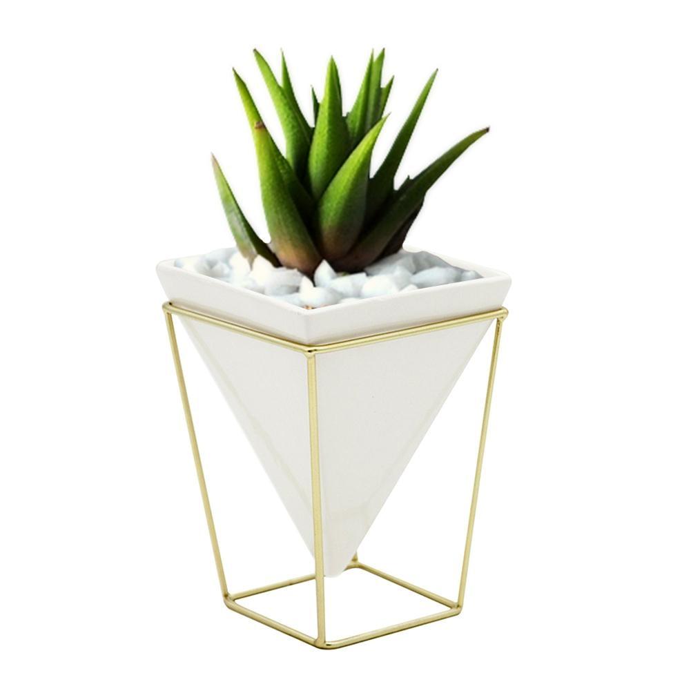 Creative Iron Stand Ceramic Vase Flower Pot Desktop Storage Pen Holder Pot for Succulent Plant Flower Garden Home Table Decor