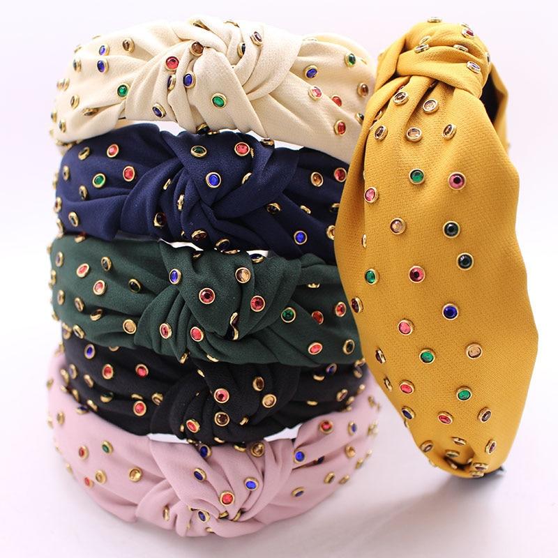 271eaf9ea2714 Bohemian Summer Color Rhinestone Center Knot Wide Hairband Handmade  Hairband Hair Accessories