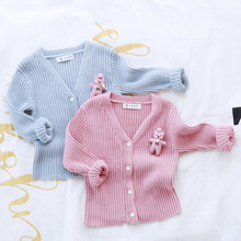 Autumn Girls Cardigan Sweater Casual Pure Cotton V neck Kids Clothing Korean Cartoon Bear Long sleeve
