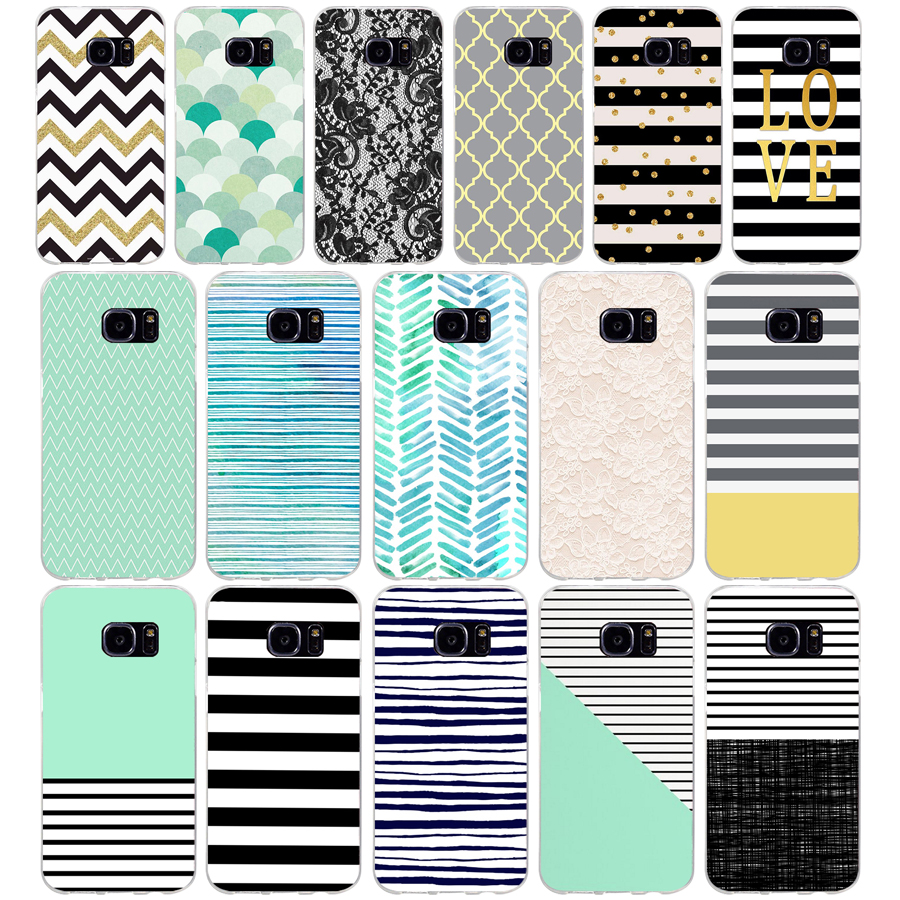 58AQ black white stripes <font><b>gold</b></font> love Soft TPU Silicone Cover <font><b>Case</b></font> for <font><b>samsung</b></font> Galaxy s6 s6 <font><b>s7</b></font> edge s8 s9 plus <font><b>case</b></font> image