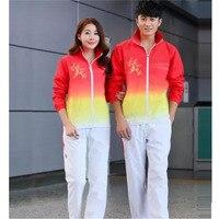 Çift Koşu Set Uzun Kollu Spor Seti Atlet Görünüm Giyim Takım Öğrenci Yarışması Giyim