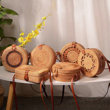 Rattan bag round straw shoulder small beach handbags ladies summer hollow handmade slung