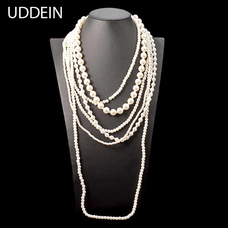 UDDEIN Long simulated pearl necklace wedding bridal jewelry multi layer beads necklace & pendant fashion statement exaggerate