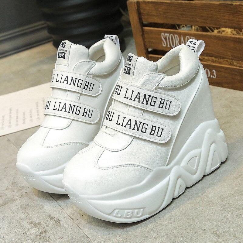 SWYIVY 12 Cm Super Hign Wedge Sneakers Woman Auutmn 2018 Leahter Female Casual Shoes Hook Loop Comfortable Platform Sneakers