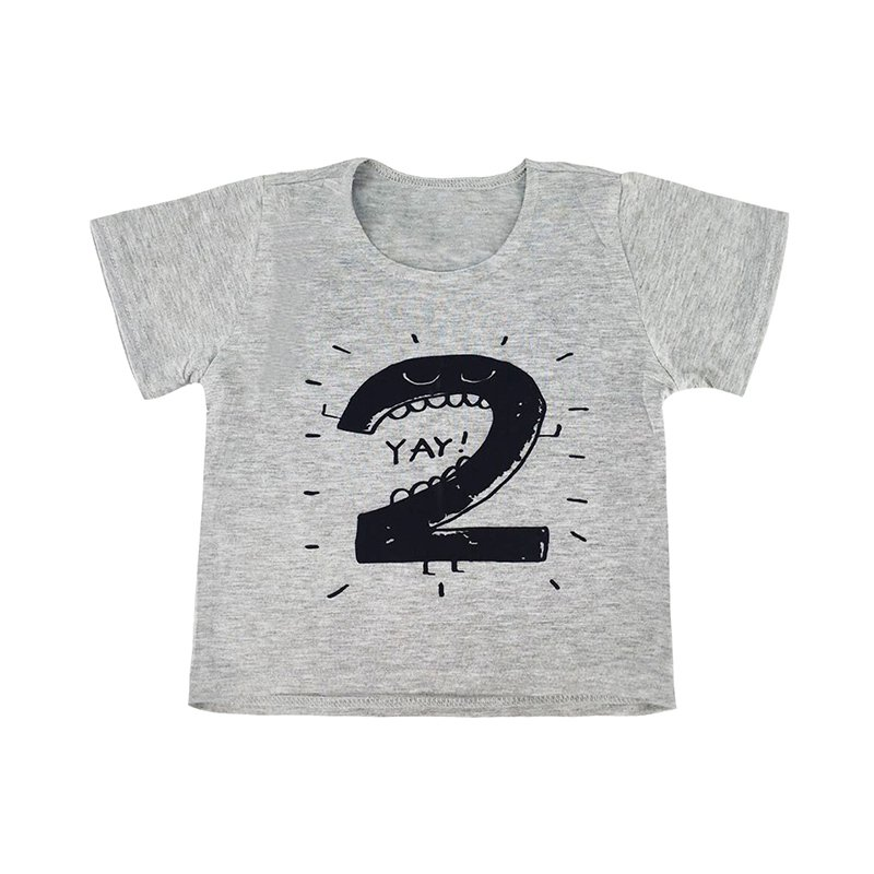 VOGUEON Baby Girl Boy T Shirts for Children Birthday Summer Short Sleeve Digit Print White and Gray Casual Tops Tee Cool Tshirt