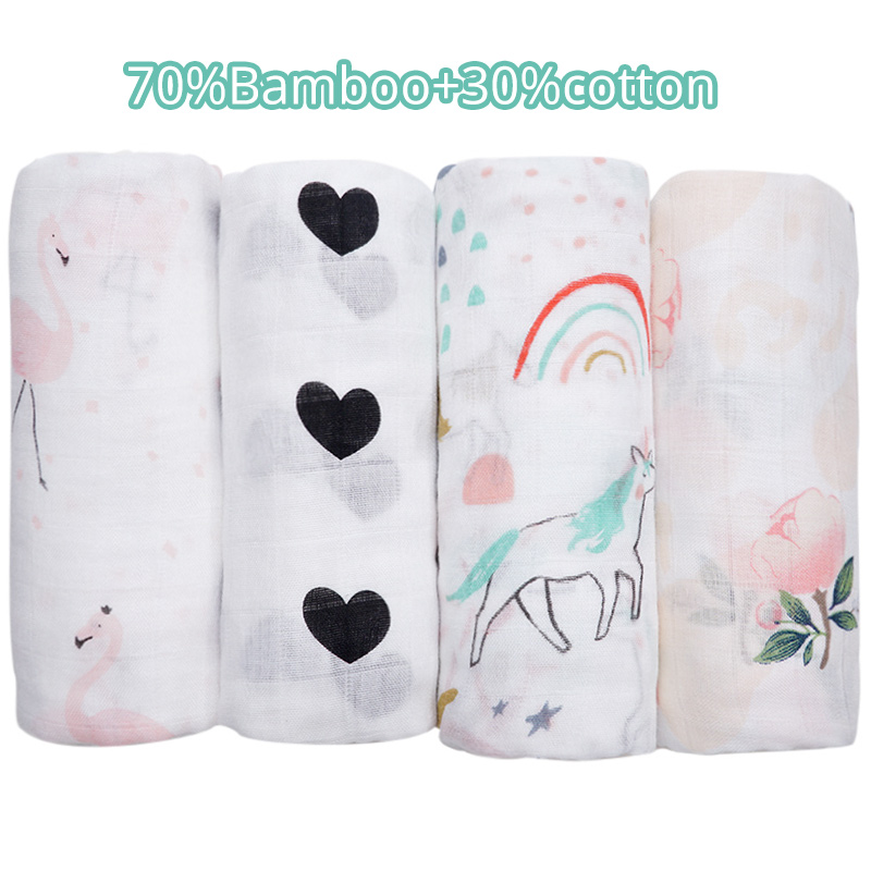 Bamboo Cotton Baby Blankets Newborn Flamingo Unicorn Patterns Muslin Swaddle Wrap Bebe Kids Infant Gauze Diapers Baby Bath Towel
