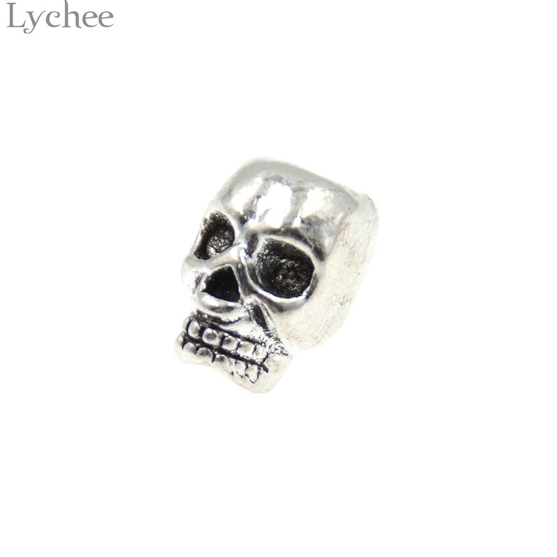 Lychee 10pcs/lot Gothic Punk Skull Hair Braid Dread Dreadlock Beads Cuff Clip Ring Headwear Jewelry For Men Women