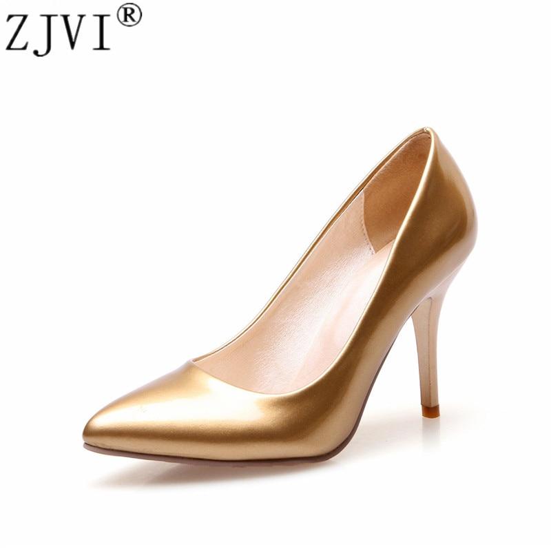 Gruaja ZJVI me majë në majë 9 cm pompa me takë të hollë të larta femra patentë këpucë me shkëlqim të artë patentë zonjat 2018 femra festa elegante e punës Pompa