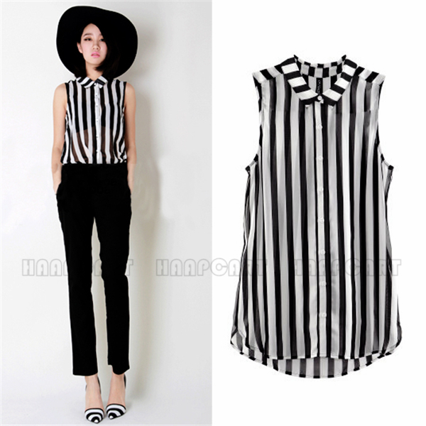 97caced3f8e119 Women s Female Sleeveless Chiffon Georgette Blouse Black White Stripes  Sheer Shirt Top Popular Slim BPQ408