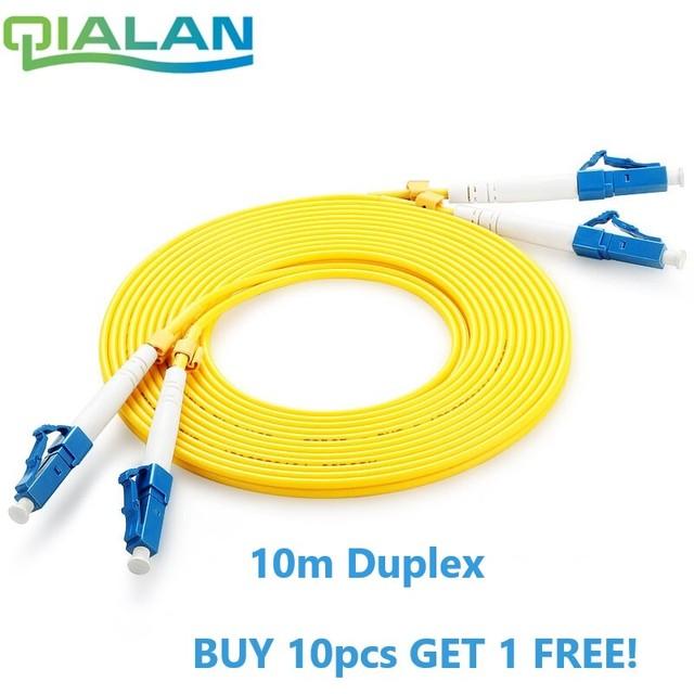 LC UPC Patchcord 10m Fiber Optic Patch Cord  Duplex 2.0mm PVC Optical Jumper Single Mode FTTH Fiber Patch Cable LC Connector