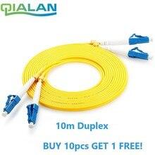 LC UPC pacchcord 10 m fibra óptica parche cable dúplex 2,0mm PVC Optical Jumper monomodo FTTH fibra parche cable de conector LC