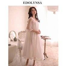 2020 New Spring Sleepwear Women Home Wear Night Dress Vintage Nightgown Princess Style Wedding Nightdress Nightwear Ladies H815