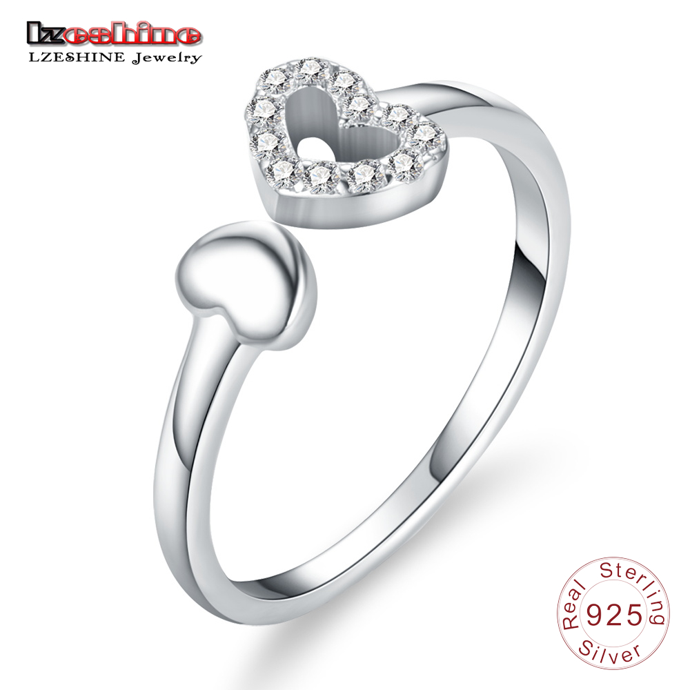 LZESHINE 100% 925 Sterling Silver Double Hearts Of Love AAA Cubic Zircon Open Finger Rings for Women Wedding Silver Jewelry gift