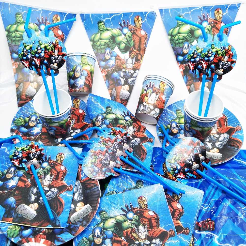82 قطعة/مجموعة خارقة المنتقمون الاطفال عيد ميلاد لوازم الديكور المائدة لوحات أكواب منديل القش tablecloth استحمام الطفل