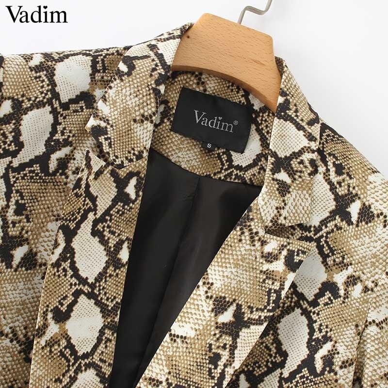 Image 5 - Vadim vintage snake print blazer pockets Notched collar long sleeve coat outerwear female retro loose casaco feminines CA154Blazers   -