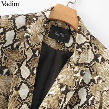 Vadim vintage snake print blazer pockets Notched collar long sleeve coat outerwear female retro loose casaco feminines CA154