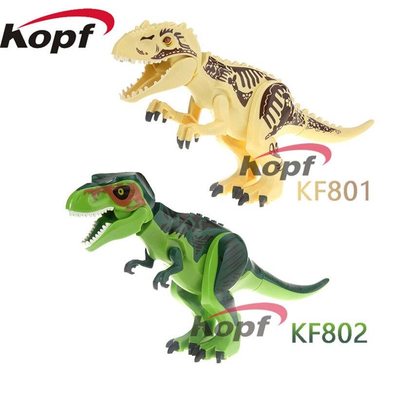 Blocks Building Blocks Jurassic World Diy Tyrannosaurus Rex Dinosaur Dolls Action Bricks Set Model Toys Children Gift Kf801 Kf802 Model Building