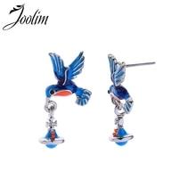 Joolim Cute Enamel Bird Drop Earring Dangle Earring Wholesale Korean Earring Summer Holiday Jewelry 4pcs cute enamel round dolphin earring