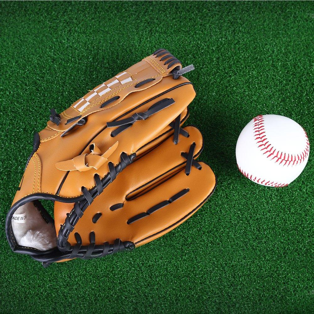 """Prix pour PVC en cuir Brun Gant De Baseball 10.5 """"/11.5""""/12.5 """"Softball Équipe Sports de Plein Air Gauche Main Baseball pratique Équipement"""