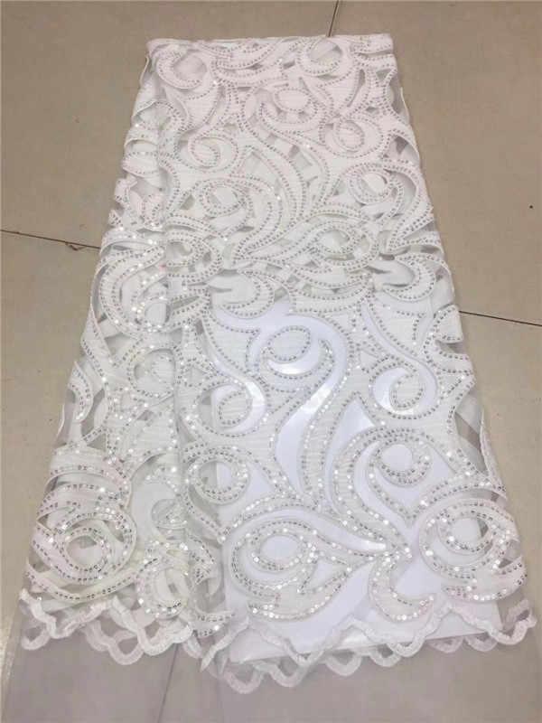Francês veludo tecido de renda 2019 alta qualidade cor branca africano voile flanela laço fraric com lantejoulas para casamento nigeriano