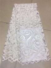 Tissu en dentelle velours français, couleur blanche, Voile africain, flanelle, avec paillettes, pour mariage nigérian, haute qualité, 2019