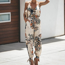 547d7ae6c1ca Female Jumpsuits for Women 2019 Floral Print Split Jumpsuit Bohemian Womens  Jumpsuits   Rompers Spaghetti Strap
