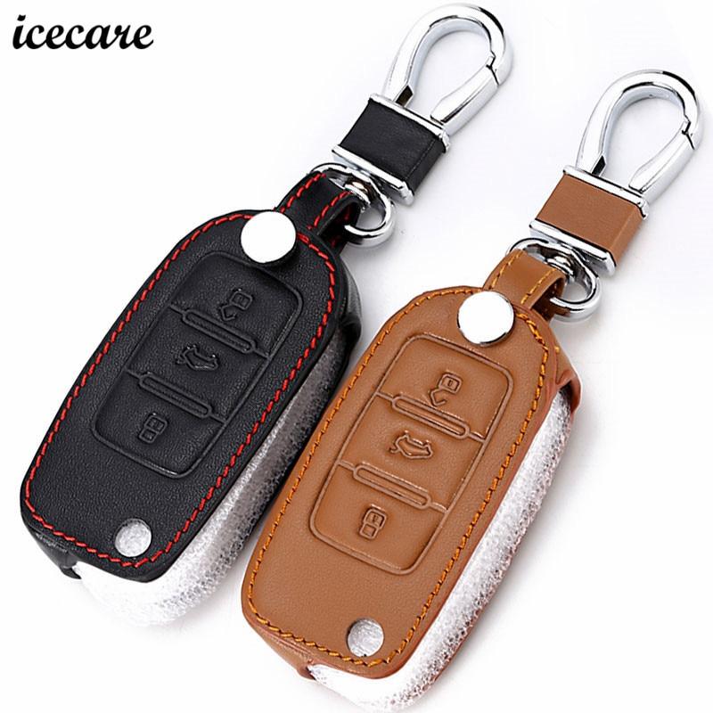 Icecare Genuine Leather Key Cover Case For VW Volkswagen Skoda Seat Octavia A5 A7 Rapid Fabia Superb Citigo Yeti Jetta Passat