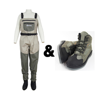 Fly Fishing Pants With Aqua Shoes Clothes Portable Chest overalls Waterproof Hunting Pants Stocking foot waders respirant boots