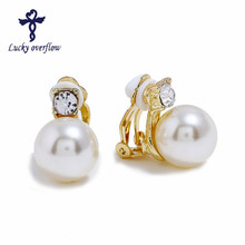 hot deal buy 2018 fashion gold silver clip earrings with pearls jewelry clamps earrings wedding piercing earrings for women valentine gift