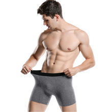 4Pcs / lot Herre Boxers Lang Undertøj Bomuldsmand Boxershorts Breathable Solid Boxers Gay Undertøj cueca boxer Underpaints Male