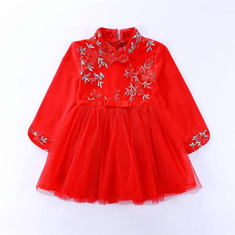 Çocuklar Cheongsam elbise kızlar için çin tarzı çiçek nakış çocuk giyim 2-10Year bebek kız düğün parti prenses elbise