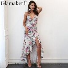 Glamaker Принт с цветком летнее платье Для женщин Сплит макси с рюшами пляжное платье Кружева спинки Сексуальная вечернее платье vestidos robe