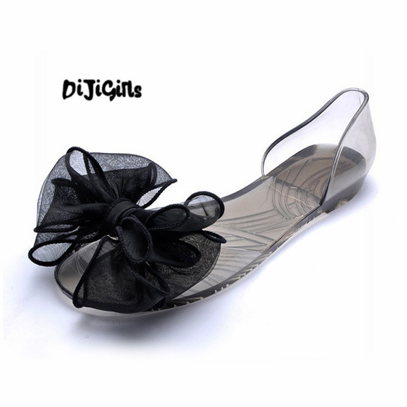 Sweet Bowknot Women Sandals Summer Jelly Shoes Woman Crystal Transparent Flats Casual Beach Ladies Shoes marlong women sandals summer new candy color women shoes peep toe stappy beach valentine rainbow jelly shoes woman