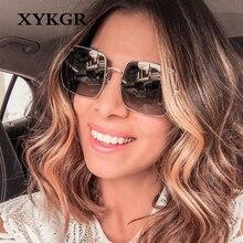 XYKGR new ladies square sunglasses brand designer gradient mens street shooting small frame glasses UV400