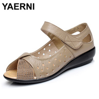 YAERNI Plus Size 35 43 New 2017 Summer Shoes Genuine Leather Casual Wedges Shoes Open Toe