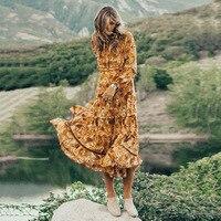 Новая осень Высокое качество Винтаж богемное шифоновое длинное платье Для женщин Цветочный принт на шнуровке оборками ретро платье Хиппи ш
