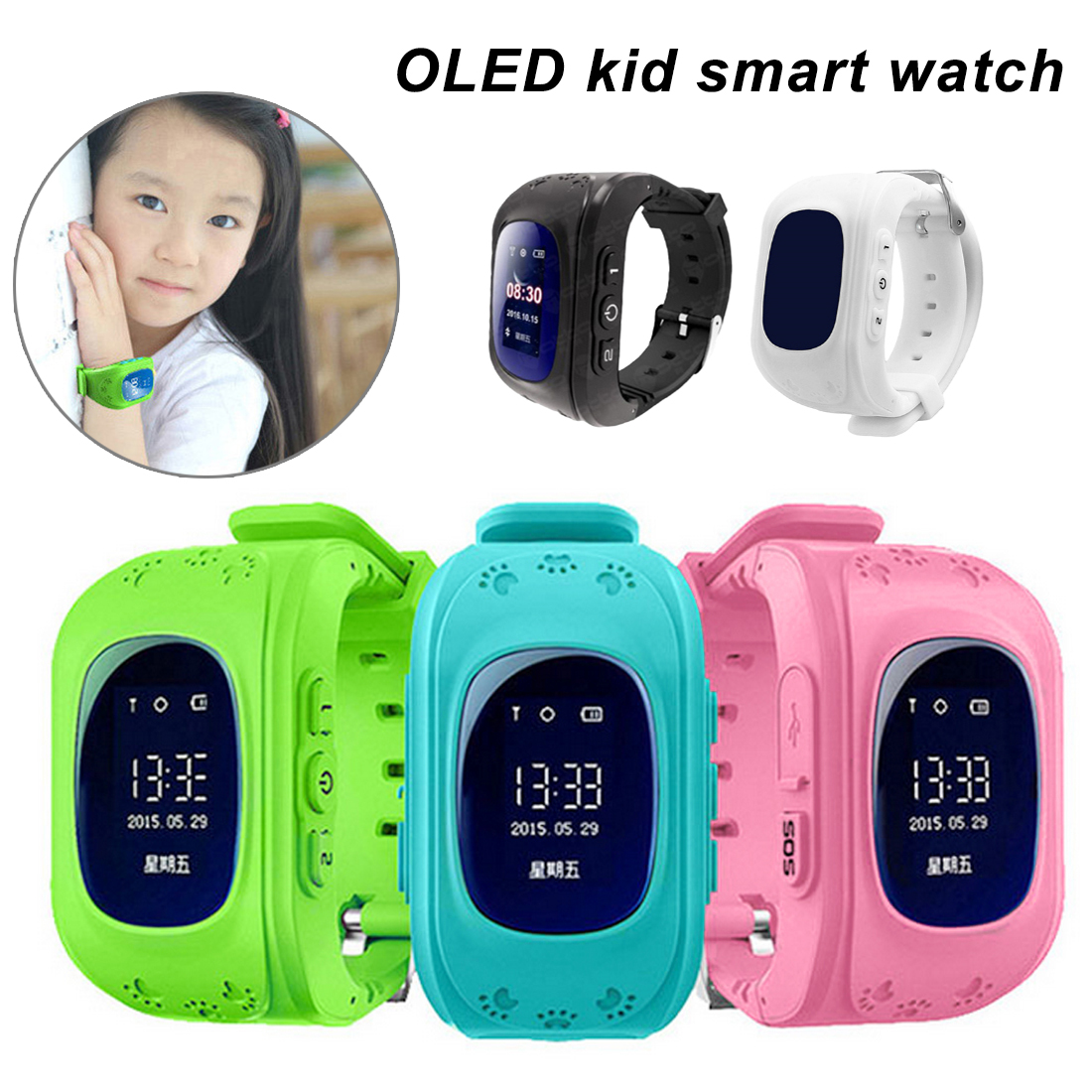 New Q50 OLED Screen GPS Smart Kid Watch SOS Call Location Finder Locator Tracker for Childreb Anti Lost Monitor Baby Wristwatch