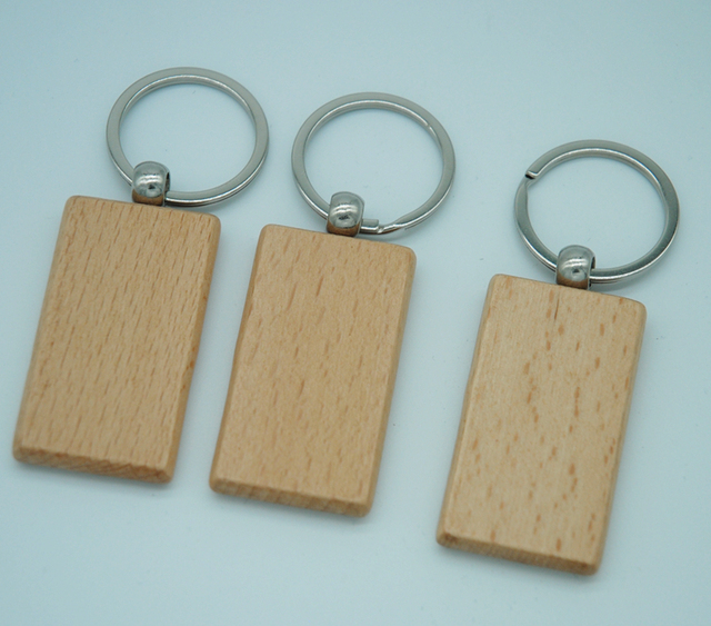 60pcs Blank Rectangle Wooden Key Chain DIY Promotion Customized Wood Keychains Key Tags Promotional Gifts