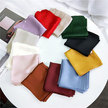 New Pure Color 53 Cm Small Scarves Autumn Winter Scarf For Women Elegant Silky Plain Shawl Hijab Satin Scarf Work Scarf все цены