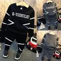 Niño del bebé infantil niños lindos conjuntos de ropa de moda otoño hip hop ropa de niños niño ropa deportiva trajes chándal de los niños