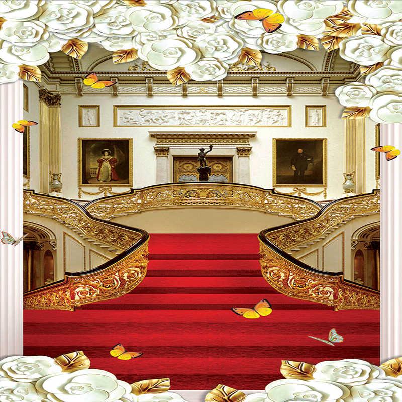 Высокое качество европейский стиль ковер для лестниц фото настенные фрески обои гостиная отель вход прихожая фон обои 3 D