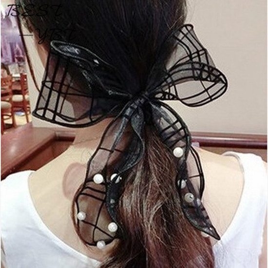 fashion Korean Style Girls Pearls Lace Chiffon Big Bowknot ponytail holder Bunny Ears elastic Hair Rope Hair Accessiors