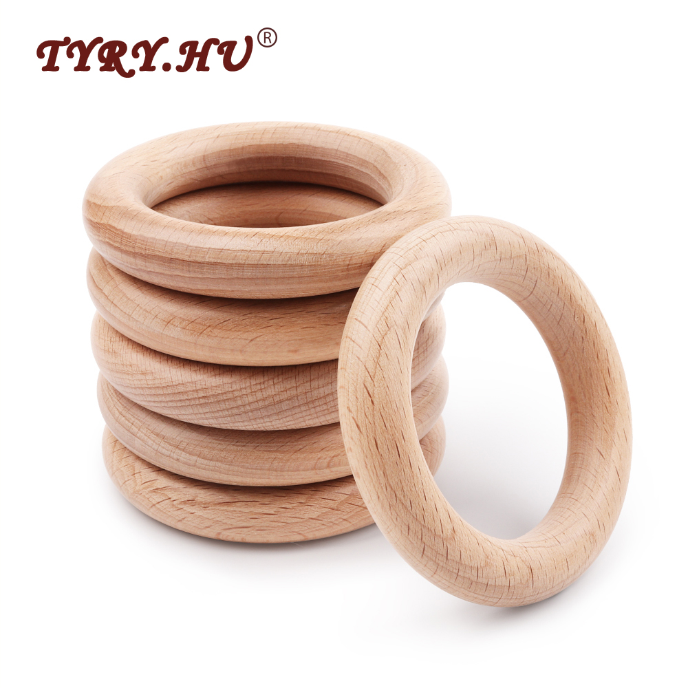 TYRY.HU 5Pcs 40mm/70mm Beech Wooden Baby Teething Rings Wooden Baby Teethers Baby Accessories For Baby Necklace Bracelet Making